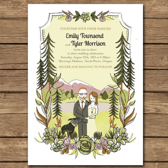 custom illustrated wedding invitations (perfect for outdoor/camp wedding)