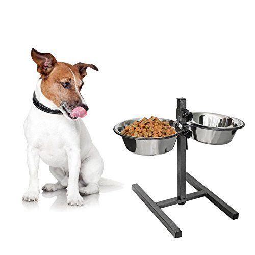 Aus der Kategorie Hundebars & Napfständer   gibt es, zum Preis von EUR 19,99  Die <strong>Hundebar Deluxe</strong> ist ein besonderes Highlight. Sie bietet Ihrem Liebling die Wahl zwischen zwei Näpfen, die zusätzlich höhenverstellbar sind.<br /><br /> Mit diesen Hundenäpfen können Sie wahlweise <strong>zwei verschiedene Futterarten</strong> oder <strong>Wasser und Futter</strong> Ihrem Tier zur Verfügung stellen. <br /><br /> Dabei sind die Näpfe für jegliche Hunderassen und jedes Alter…