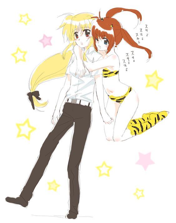 Nanoha and Fate, in Urusei Yatsura cosplay