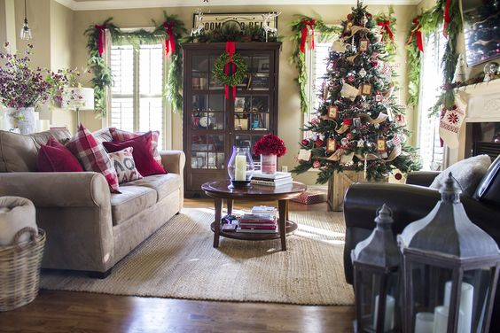 home for holidays decor | Live garlands over the windows add extra festivity to the space ...: