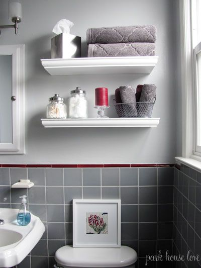 Gray bathroom facelift white shelves gray tile and - Floating shelf ideas for bathroom ...