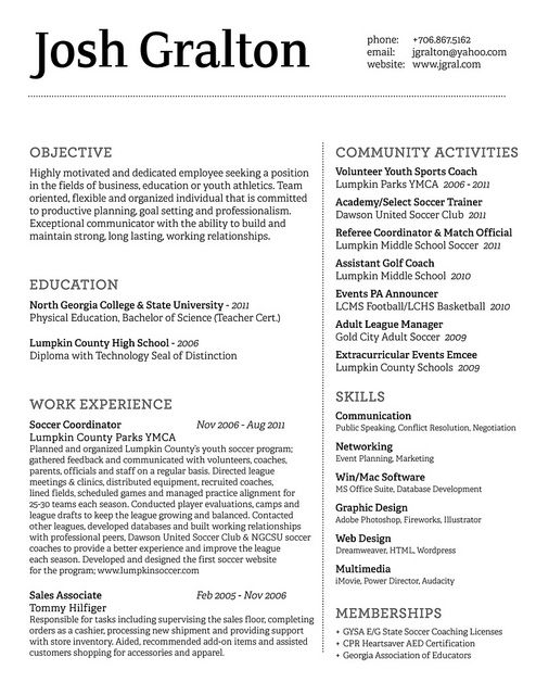 JG Resume Design http\/\/bespokeresumedesign\/ New Career - soccer resume for college