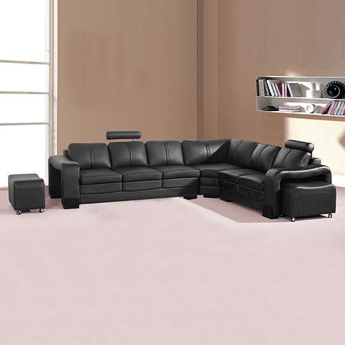 Majestic Black 6 Seater Corner Sofa Corner Sofa Leather Corner Sofa Leather Chaise Sofa