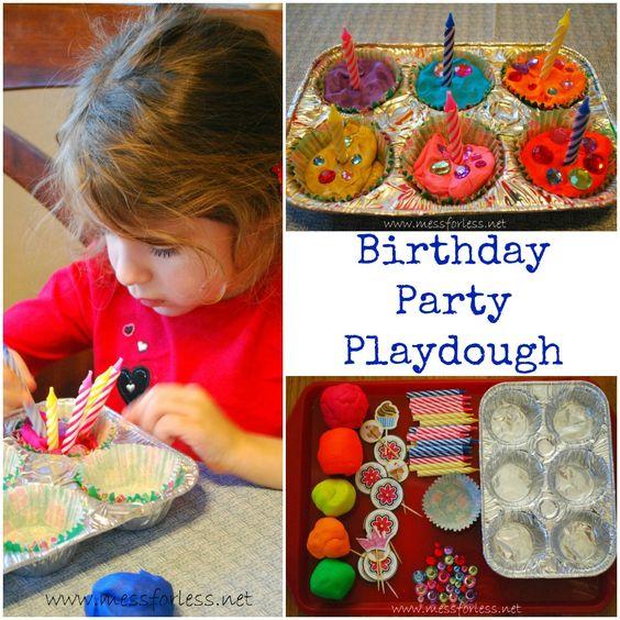 Playdough Games: Birthday Party Playdough - Mess for Less