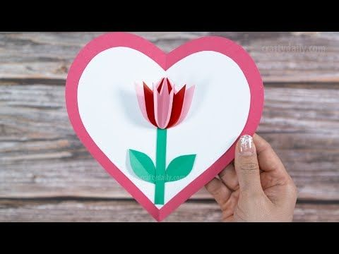 3d Pop Up Tulip Card Beautiful Mother S Day Pop Up Card Craft For Kids Youtube Tulips Card Diy Pop Up Cards Pop Up Flower Cards
