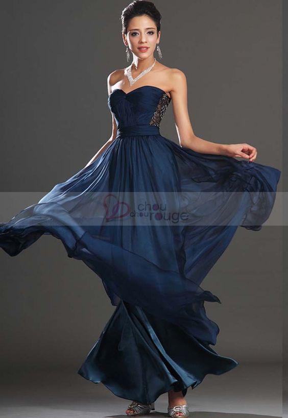 Robe de soir e longue bleue nuit bustier en mousseline et for Robes de mariage bleu