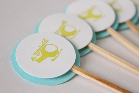 Birthday or Baby Shower Cupcake Toppers - Helicopters - Green and Blue - Set of 12