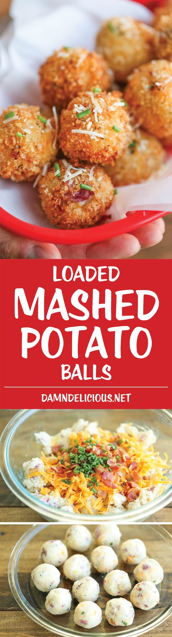 Loaded Mashed Potato Balls - What do you do with leftover mashed potatoes? You make melt-in-your-mouth, crisp yet creamy mashed potato balls of course!: