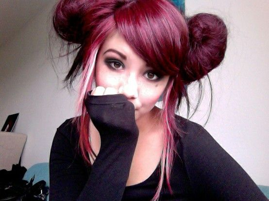 Cute hair insp - violet red + white streak  This is very interesting... Not something I would go for but it works on her.