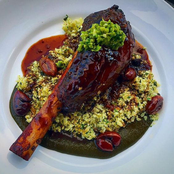 Best lamb dishes: Lamb shank, cauliflower rice, kale purée, olive jus. | Three Degrees - Portland, OR