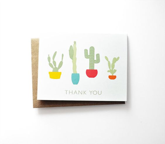 Cactus Thank You greeting card set of 8