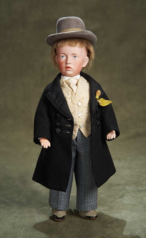 German Bisque Art Character,107,by Kammer and Reinhardt,Gentleman's Costume. Circa 1910. http://Theriaults.com