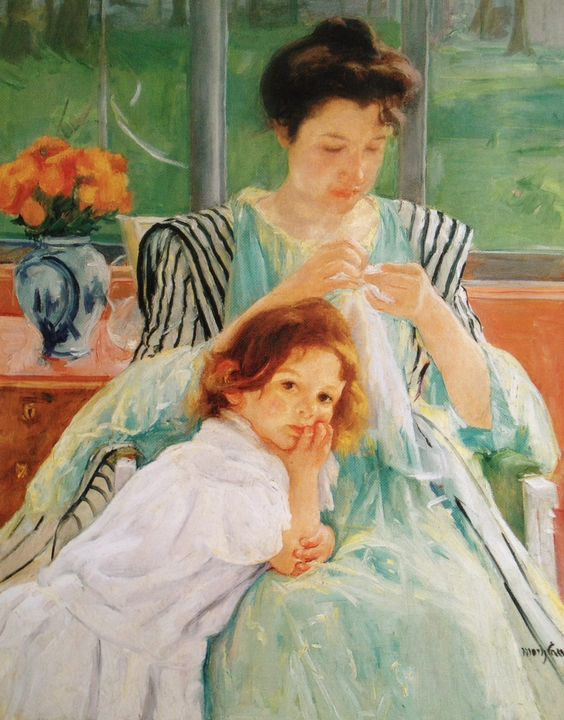 """Mary Cassatt (American, 1844-1926) * """"Young Mother Sewing"""", 1900 * Oil On Canvas * The Metropolitan Museum of Art"""