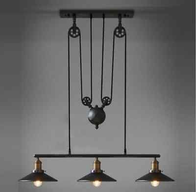 Dining or Pool Table Lighting: $379.95 - 90cm wide and dropping 200cm (adjustable), this light requires 3 x E27 globes (not included), perfect for over a kitchen buffet or dining table - Barn-Industrial-Vintage-Pendant-Light-Chandelier