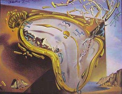Salvador Dalí melting clock...he is referring to the time it take cheese to melt in the sun..