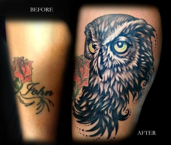 Owl Tattoo Cover Up by Rain at BLTNYC Tattoo Shop Queens  #tattoocoverup #coveruptattoo #tattoo #tattooartist