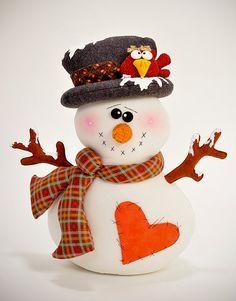 muñeco 3: hombre nieve con pajaro:
