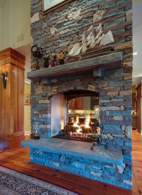 Pass-Thru Fireplace with Stone. Helping You Find Your SC Home ...