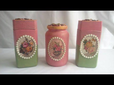 ديكوباج على برطمانات زجاجية و اعادة تدوير Salt And Pepper Shaker Pepper Shaker Handicraft