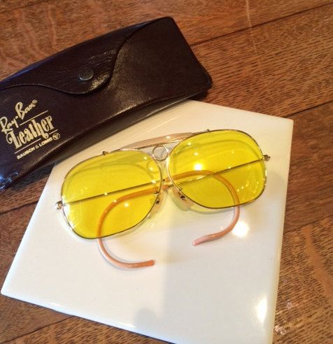 ray ban yellow aviator sunglasses  vintage b&l ray ban kalichrome yellow shooter decot aviator sunglasses