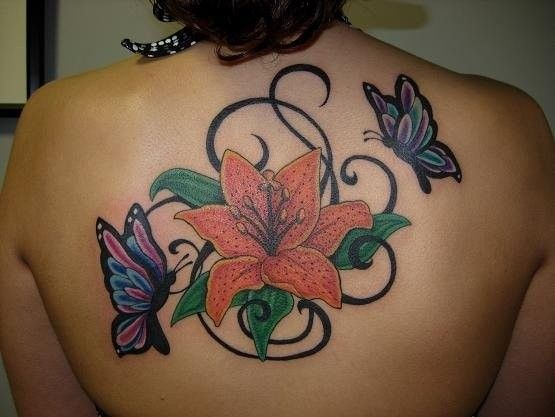 butterflies and flower on back