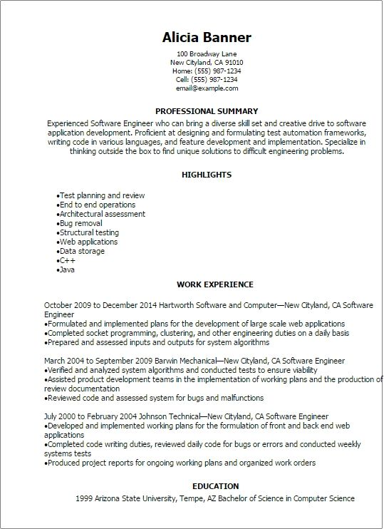 Cool Resume Template Software Engineer Idea Professional Software