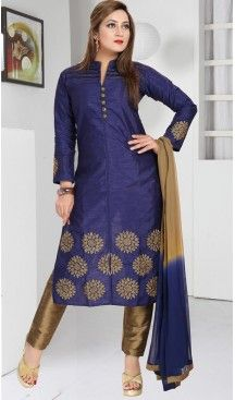 Navy Blue Color Art Silk Achkan Readymade Narrow Pants Dress | FH478873947