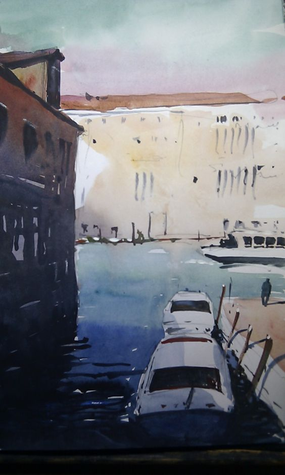 Side canal into Grand Canal, Venice by Tim Wilmot