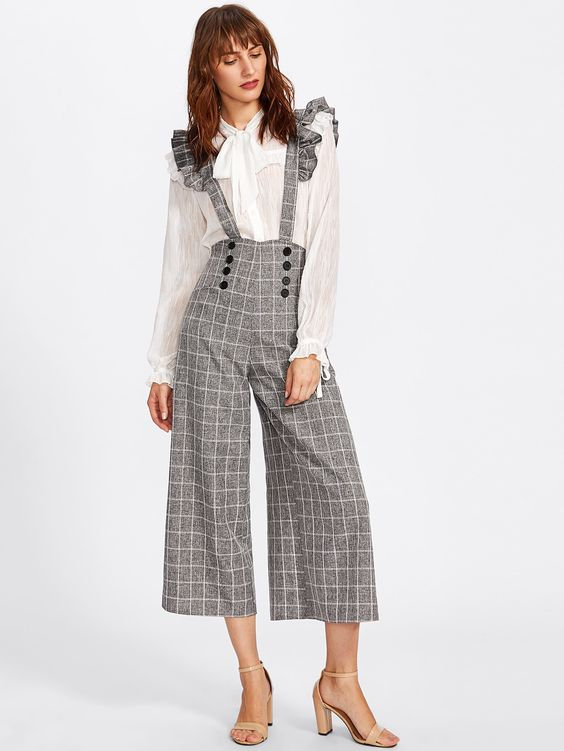 Double Breasted Culotte Pants With Ruffle Strap -SheIn(Sheinside)