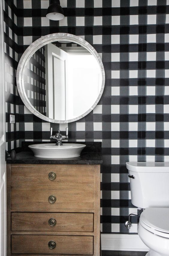 buffalo check bathroom with wood vanity: