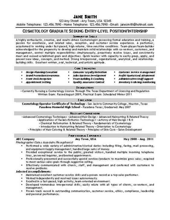 Sample Hair Stylist Resume Example cosmetologist Pinterest - truck driver resumes