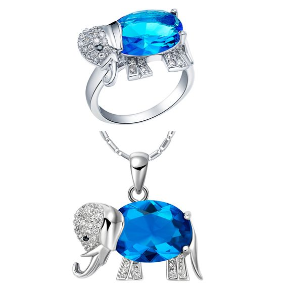 Find More Jewelry Sets Information about 2014 Promotion Trendy 925 Silver Sterling Animal Jewelry Sets Necklace Set Elephant Pendent Ring Blue Stone for Party T378,High Quality stone wood,China stone medicine Suppliers, Cheap stone fountain from ULOVE Fashion Jewelry on Aliexpress.com
