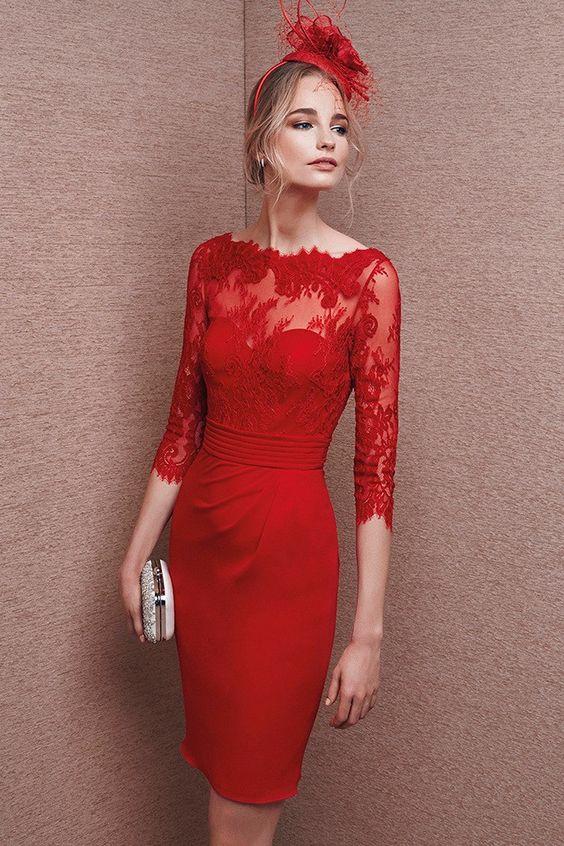 Vestido rojo de encaje modelo 6651 de It's My Party by It's My Party | Boutique Clara: