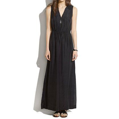 Silk Pleated Maxidress - waist defined dresses - Women's DRESSES - Madewell