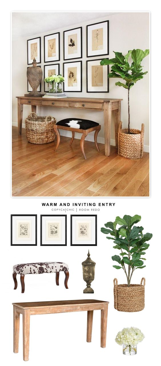 A warm and inviting entryway designed by Kelly McGuill and recreated for less than $2000 for Copy Cat Chic by @audreycdyer:
