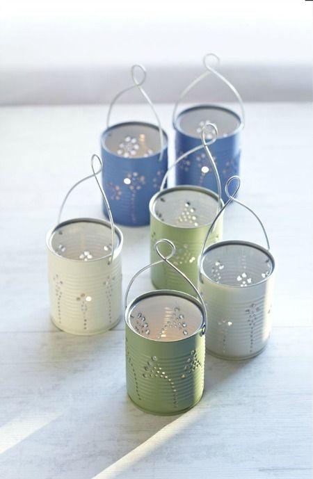 Luminárias feita com latas