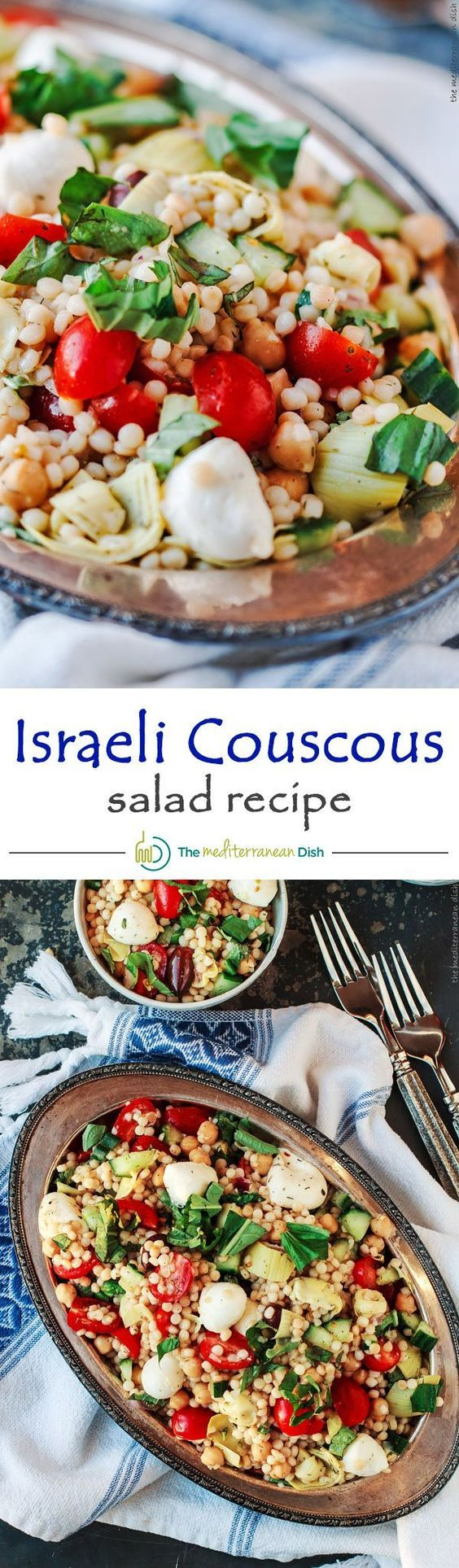 Israeli Couscous Salad - With lots of chopped vegetables, chickpeas ...