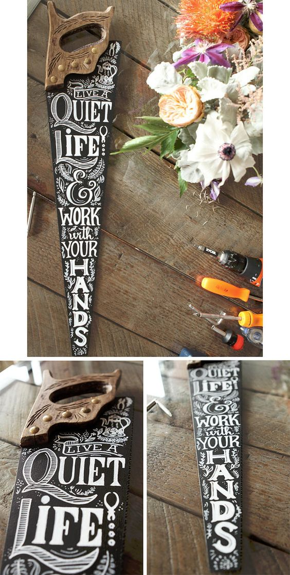 Custom saw typography and illustration for a fathers day gift. Chalkboard art, DIY http://www.manifestevents.com: