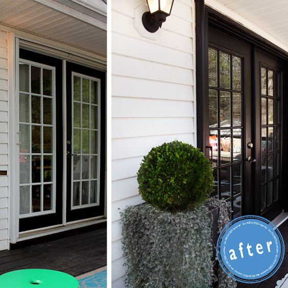 See what a difference a can of black paint can make paint for Black french doors exterior