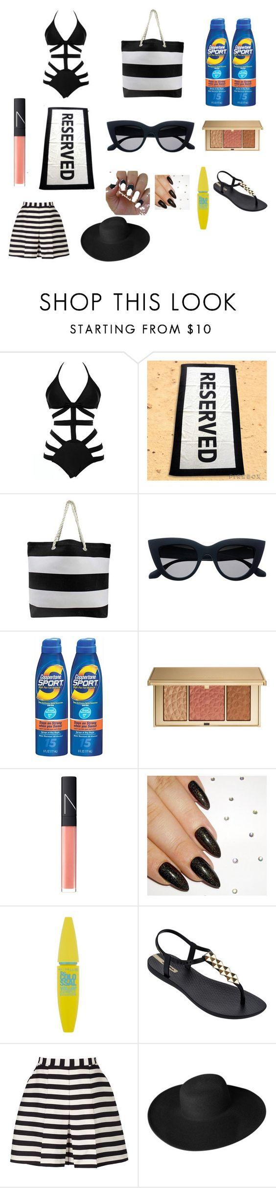 """my beach outfit flawless"" by beauty-663 on Polyvore featuring Coppertone, Estée Lauder, NARS Cosmetics, Maybelline, IPANEMA, Reiss and Dorfman Pacific"