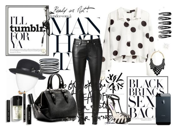 """""""Black & White"""" by avonsblessing94 ❤ liked on Polyvore featuring Amiee Lynn, H&M, Yves Saint Laurent, Miu Miu, Ralph Lauren Collection, Kate Spade and Bobbi Brown Cosmetics"""
