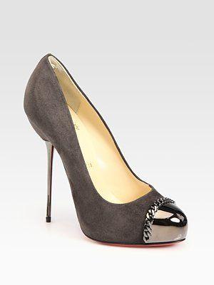 Christian Louboutin  Suede Chain-Detail Pumps: Shoes Craze, Detail Pump, 4Real Shoes, Shoes Boots, Heels Lover, Louboutin S Shoes, Shoes Bags, Christian Louboutin, Shoes Shoes