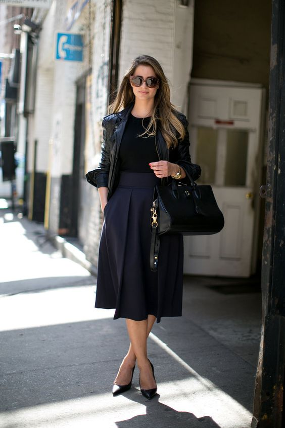 midi skirt: Fashion Style, Fashion Week, Black Outfit, Street Styles, Leather Jackets, Work Outfit, Black Leather Jacket, Black Midi Skirt