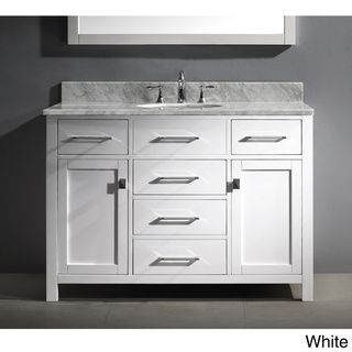 Virtu usa caroline 48 inch single sink bathroom vanity set - 48 inch white bathroom vanity with top ...