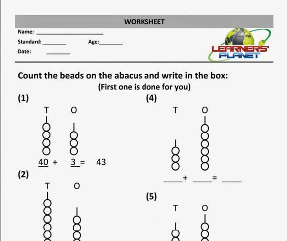 Maths Addition Worksheet abacus practice sheet grade 1 Math – Addition Worksheet Generator