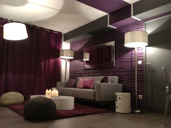 D co salon violet gris deco salon s jour pinterest for Chambre prune et blanc