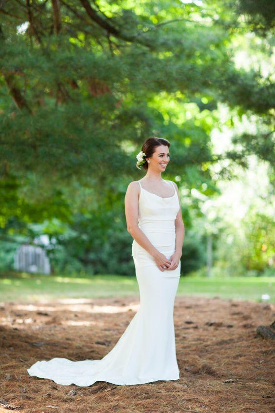 Streamlined wedding dress: http://www.stylemepretty.com/new-york-weddings/east-greenbush/2015/11/12/intimate-backyard-fall-wedding/ | Photography: Brindamour - http://rimabrindamour.com/
