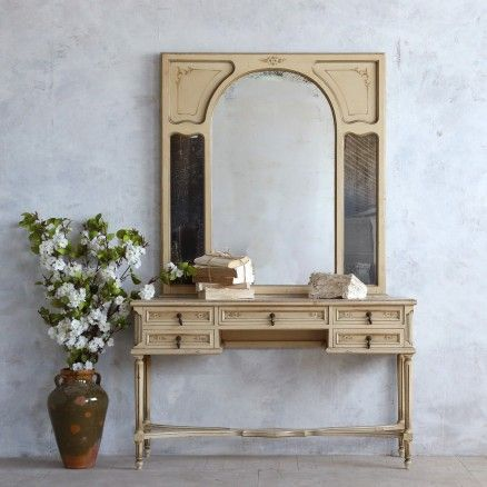 Beautiful Vintage Louis XVI Style Vanity in Cream $1,425.00 #thebellacottage #shabbychic #eloquence