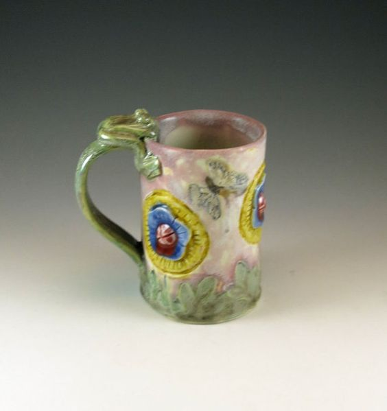 Pottery Tea Cup - Coffee Cup - Country Flower and Frog Pottery Porcelain Mug - 553