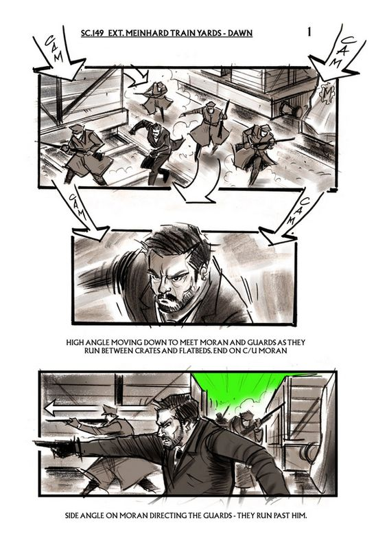 """Sherlock Holmes: A Game of Shadows"" - original storyboard art by David Allcock.  Train yard scene, Meinhard Factory."